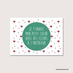 Cartes ensemencées - Je t'envoie mon petit cœur avec des fleurs à l'intérieur - Français
