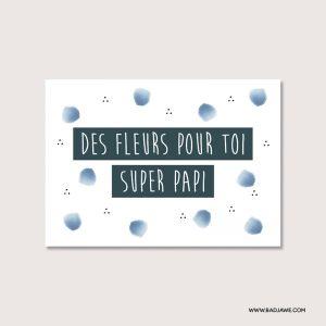 Cartes ensemencées - Des fleurs pour toi super papi - Français