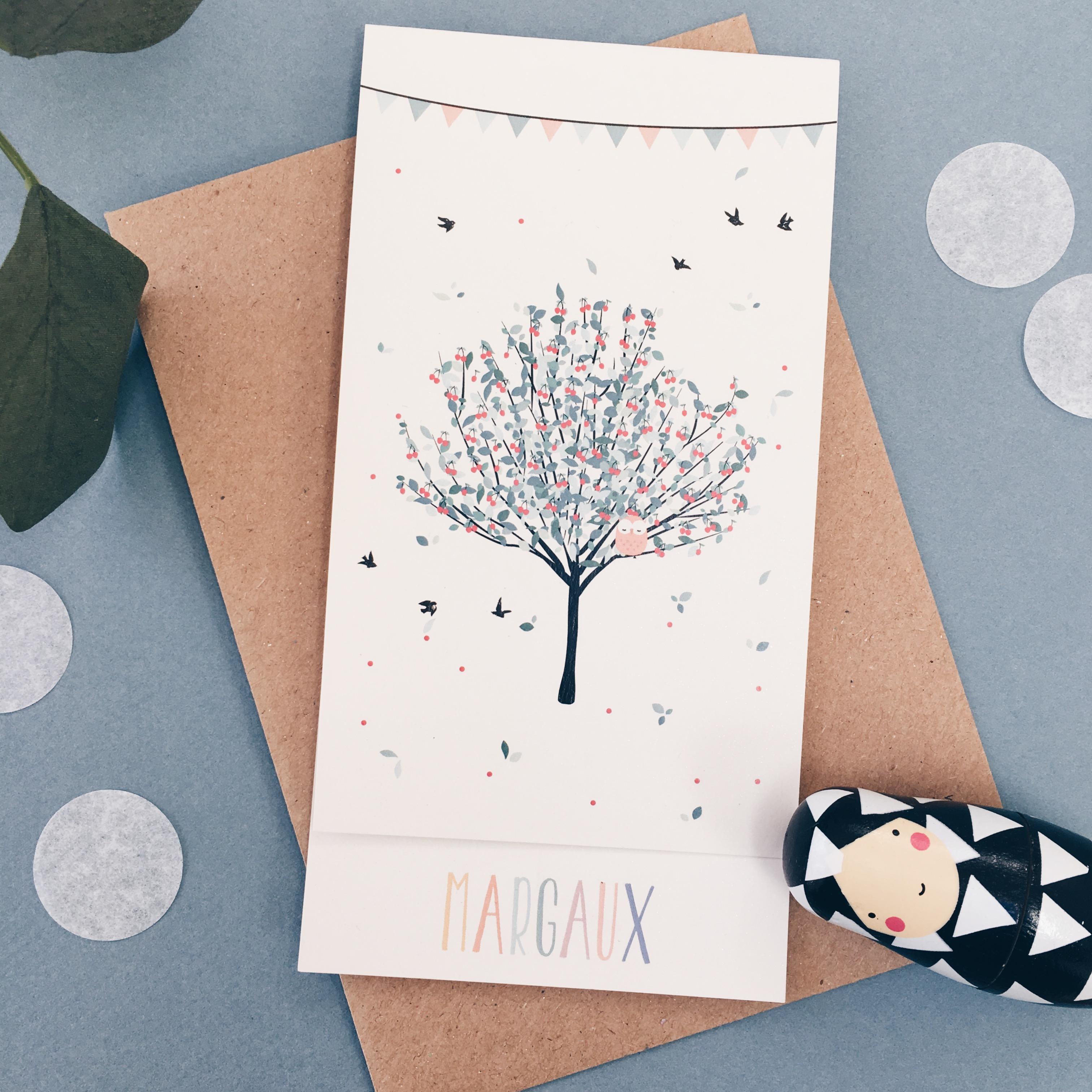 Faire-part hirondelle cerisier