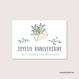 Cartes ensemencées - Joyeux anniversaire de fleurs et de bonheur - Français