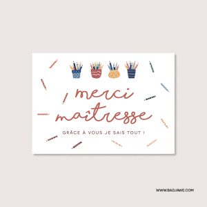 Cartes ensemencées - Merci maîtresse - Français