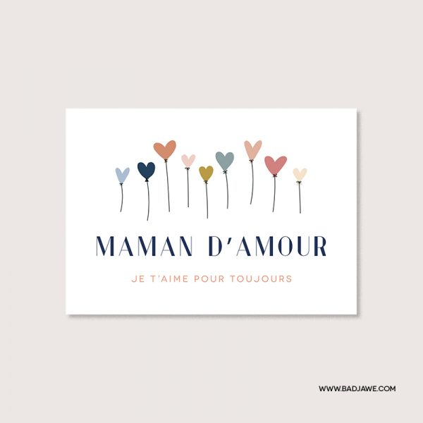 Cartes ensemencées - Maman d'amour je t'aime pour toujours - Français