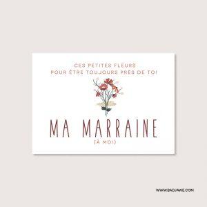 Cartes ensemencées - Ces petites fleurs pour être toujours près de toi ma marraine (à moi) - Français