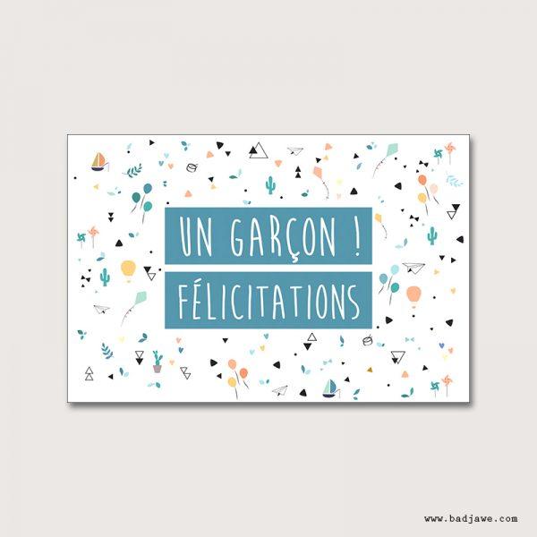 Cartes Postales - Un garçon! Félicitations - Français