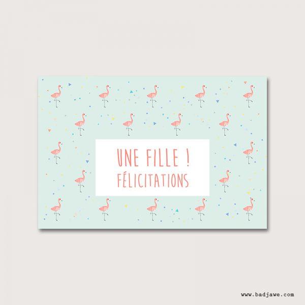 Cartes Postales - Une fille! Félicitations - Français