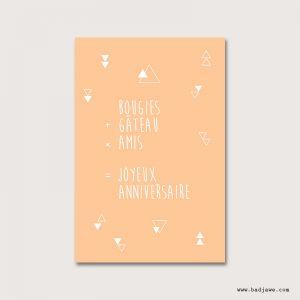 Cartes Postales - Bougies + gâteau x amis = joyeux anniversaire! - Français
