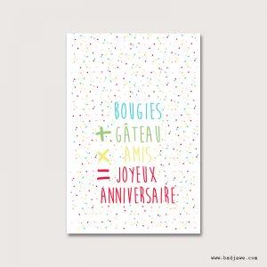 Cartes Postales - Bougie+gateauxamis= - Français