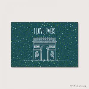 Cartes Postales - I love Paris : Arc de triomphe - Paris