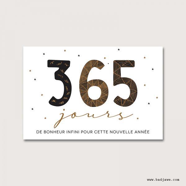 Cartes Postales - 365 jours de bonheur infini pour cette nouvelle année - Français